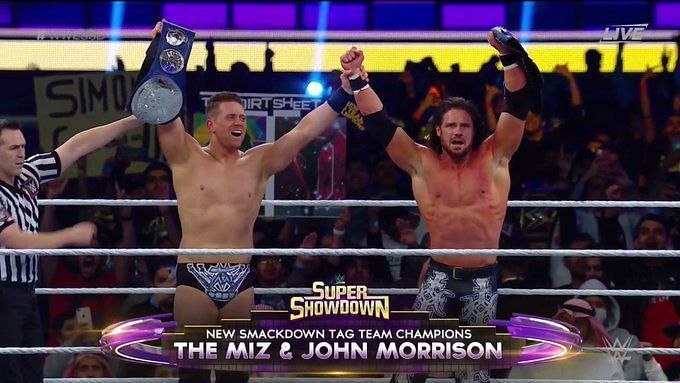 The Miz and John Morrison won the SmackDown tag team titles at Super ShowDown
