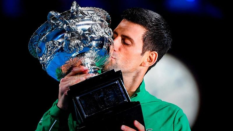 Novak Djokovic with the 2020 Australian Open title