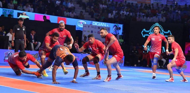 A Kabaddi match in the Madhya Pradesh Kabaddi League
