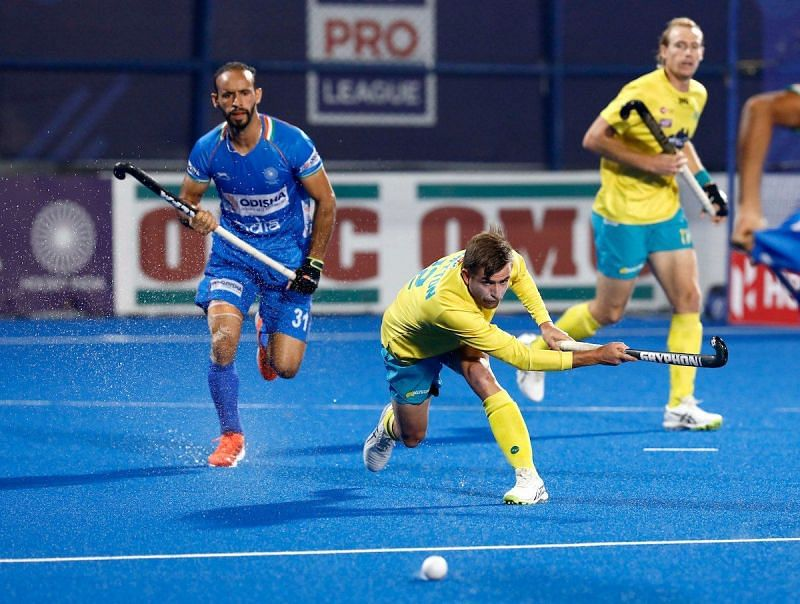 Ramandeep in action Image Courtesy: FIH