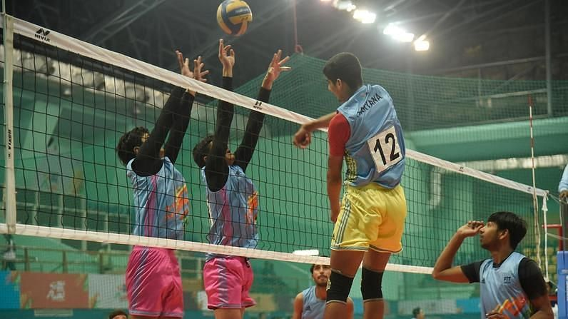 A volleyball game during Khelo India University Games 2020