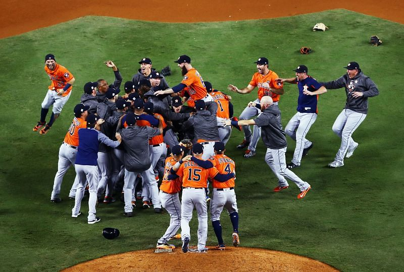 The Houston Astros celebrate their 2017 World Series Game 7 win over the Dodgers at Minute Maid Park.