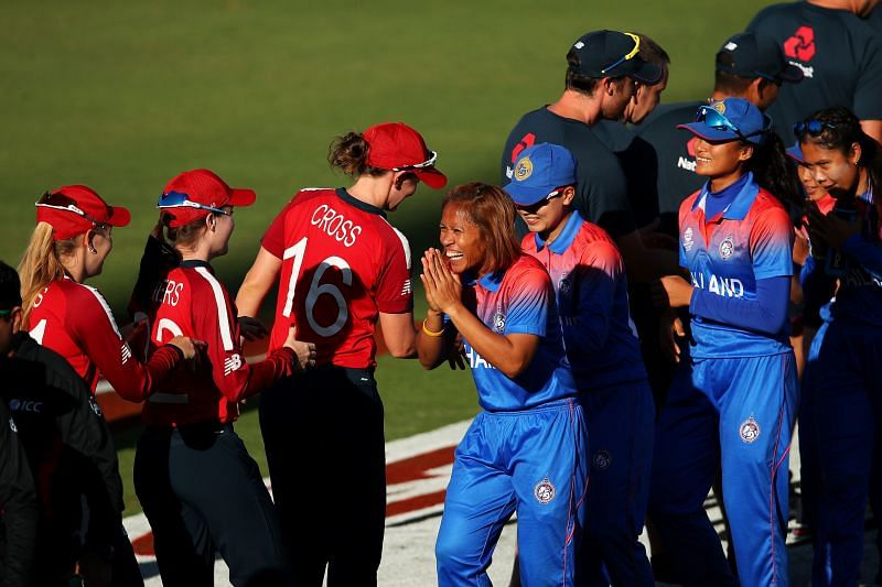 Heather Knight scored her maiden T20I hundred as England beat Thailand comprehensively by 98 runs.
