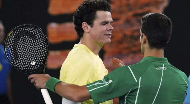 Raonic (left) lost for the 10th time to Djokovic at the 2020 Australian Open