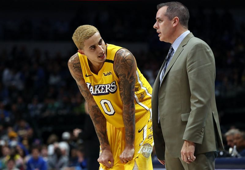 Kuzma alongside Frank Vogel this season - where he has averaged career-lows in points, rebs and assists