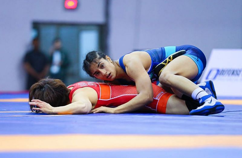 Vinesh during one of her matches
