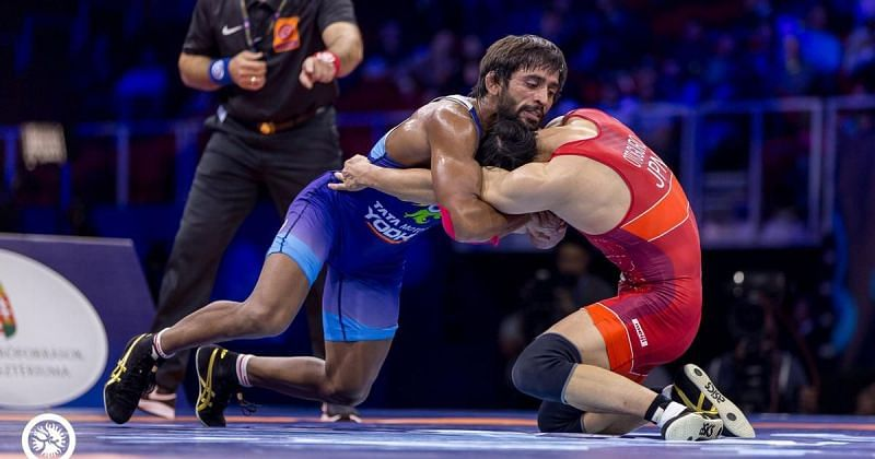 Bajrang Punia was in action on Day 5 of the Asian Wrestling Championships in New Delhi