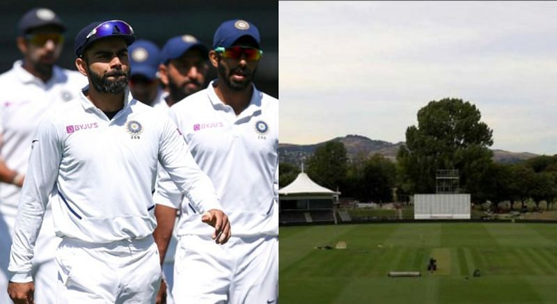 Team India (left) and Christchurch pitch (right)