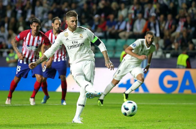 Ramos converts from the penalty spot against city rivals Atlético
