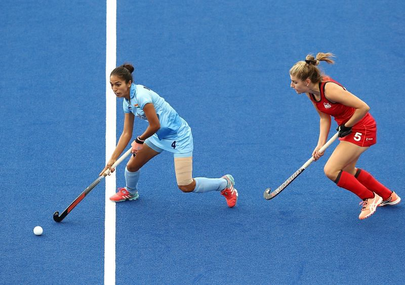 Monika in action during Commonwealth Games 2018