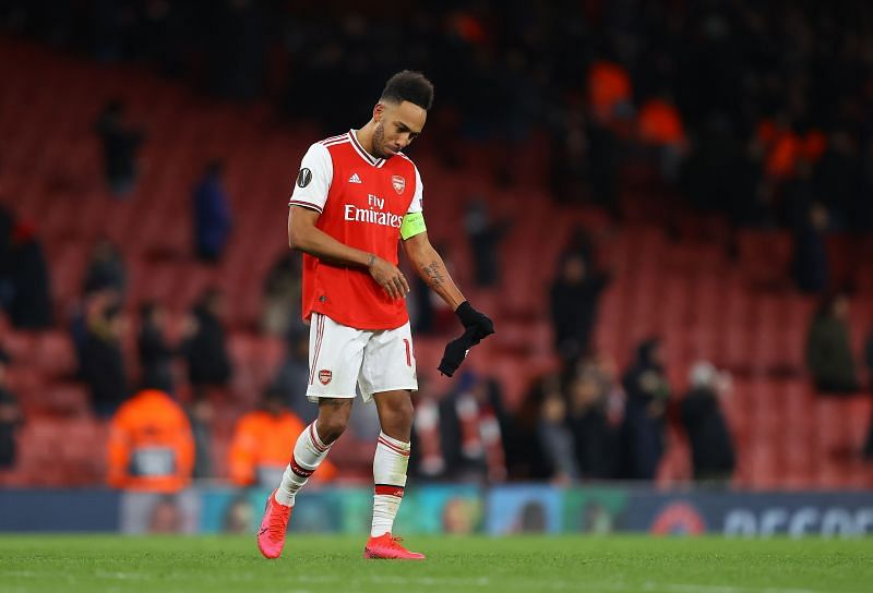 Aubameyang missed the chance to seal a win for Arsenal