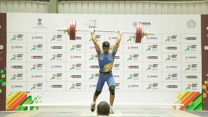 The weightlifting action carried on at the Khelo India University Games 2020