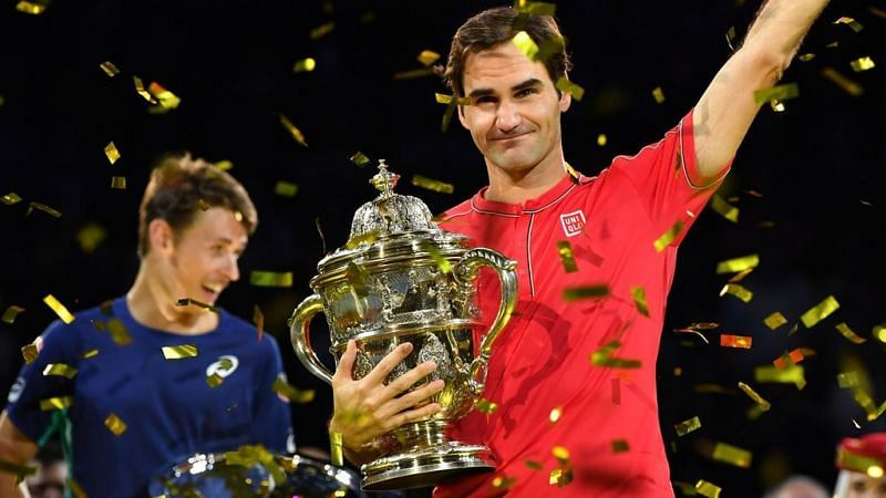 Federer with the 2019 Basel trophy