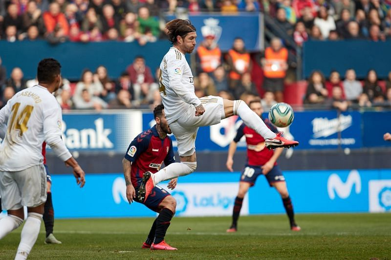 Sergio Ramos in action on his 440th game