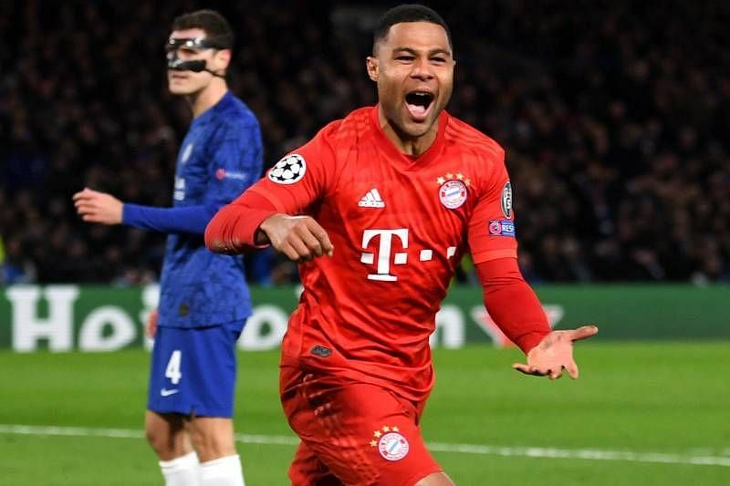 Serge Gnabry after scoring one of his two goals at Stamford Bridge