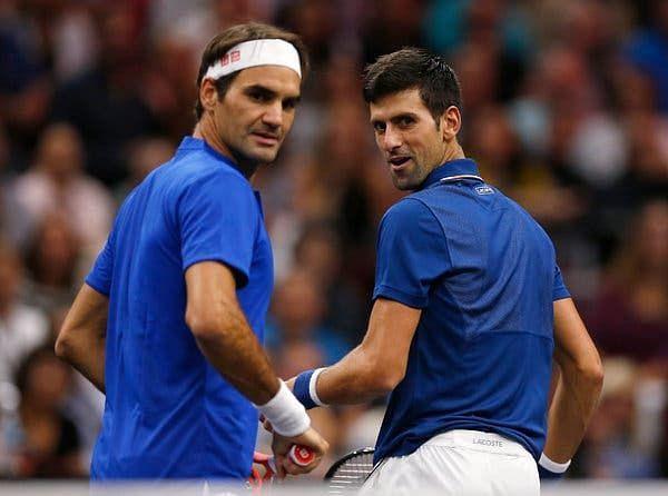 Roger Federer (left) and Novak Djokovic