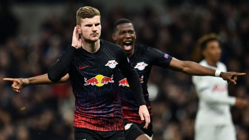 Timo Werner rejoices after scoring against Tottenham Hotspur