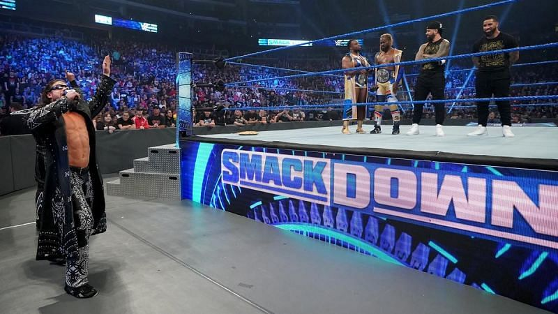 John Morrison cutting a promo before the 8-man tag team match