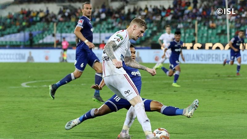 Andrew Keogh playing against Chennaiyin FC (Photo: Indian Super League)