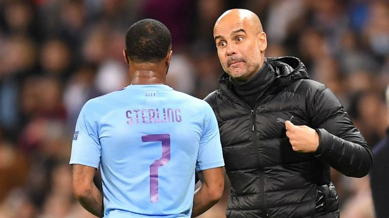 Raheem Sterling and Pep Guardiola - cropped