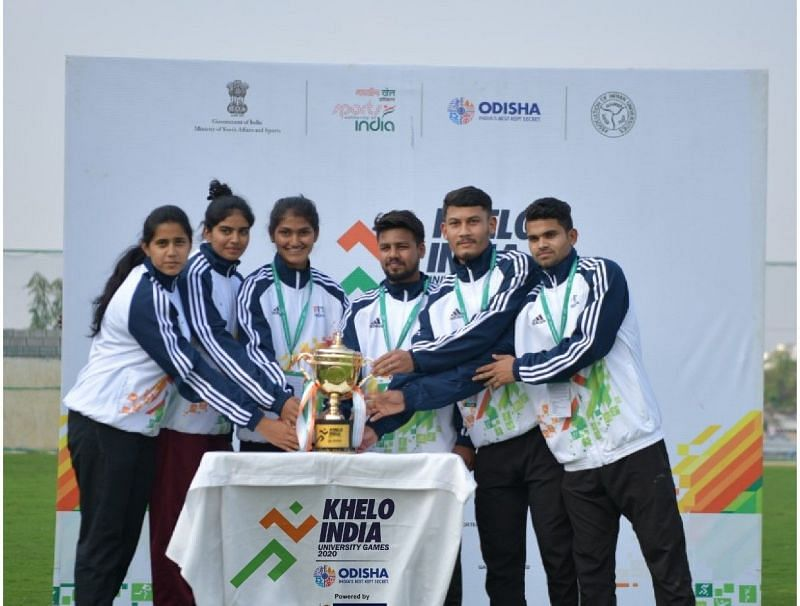 The athletes unveiled the official trophy of the Khelo University Games 2020