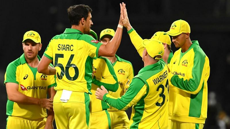 Australia celebrate the early dismissal of South Africa captain Quinton de Kock.
