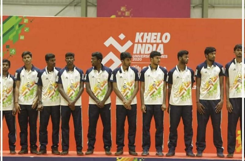 The University of Madras celebrating their win in the men