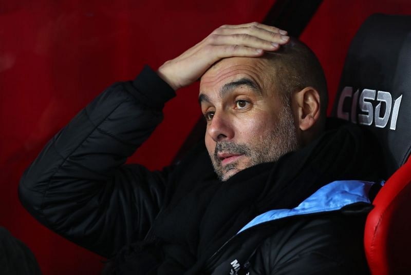 Pep Guardiola has been frustrated in the dug-out this season