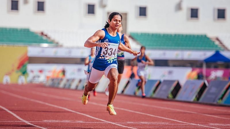 Dutee Chand won the 100 metres gold in Athletics competition at the Khelo India University Games 2020