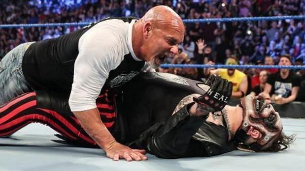 "Goldberg speared ""The Fiend"" Bray Wyatt in a confrontation before WWE Super ShowDown!"