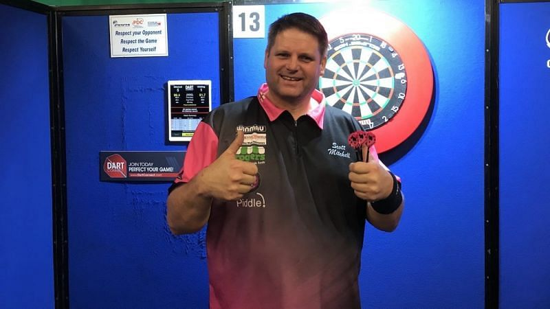 Scott Mitchell after winning a PDC Challenge Tour event in Wigan.