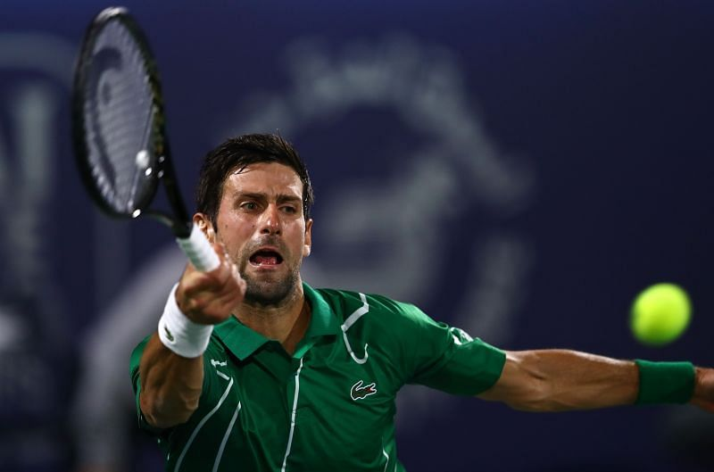 Novak Djokovic in action in Dubai