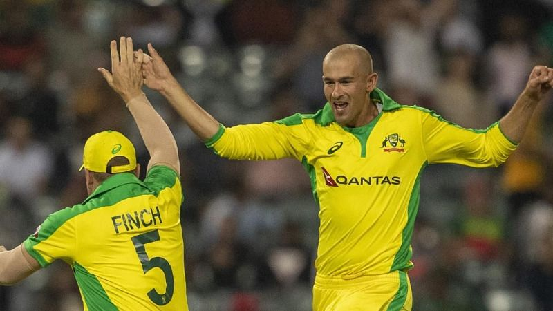 Aaron Finch and Ashton Agar celebrating a wicket against South Africa