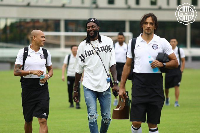 Emmanuel Adebayor joins the tenth club of his career, linking up with a former Manchester City teammate