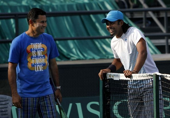Zeeshan Ali (left) with Leander Paes