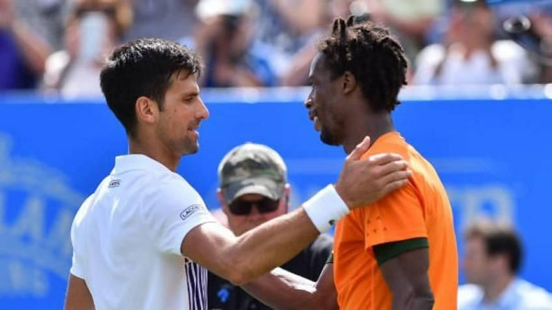 Djokovic (left) beat Monfils for the 17th time in the 2020 Dubai semifinals
