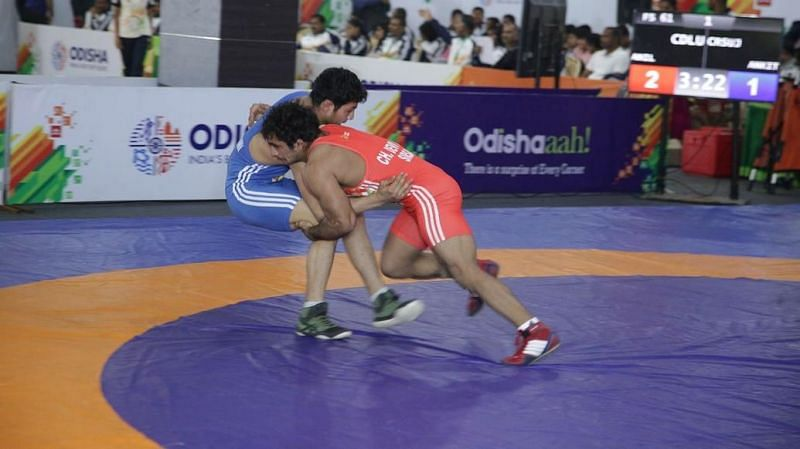 Wrestling action on the mat continued at the Khelo India University Games 2020