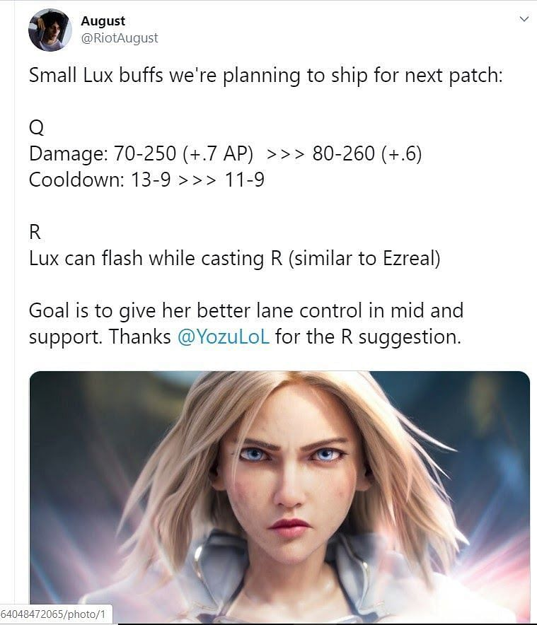 The expected Lux buffs