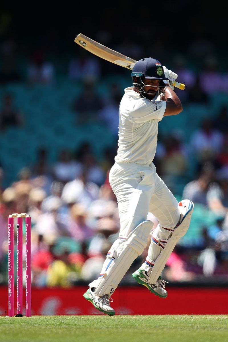 Cheteshwar Pujara restricts his expansive shots to the shorter deliveries