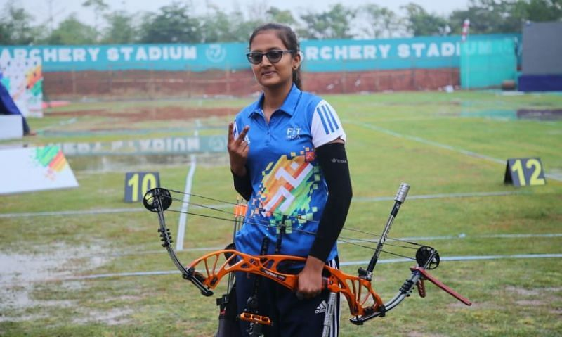 Kritika Sharma after winning gold in compound archery