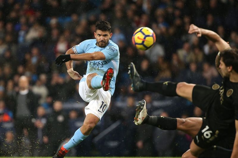 Sergio Agüero doing what he does best