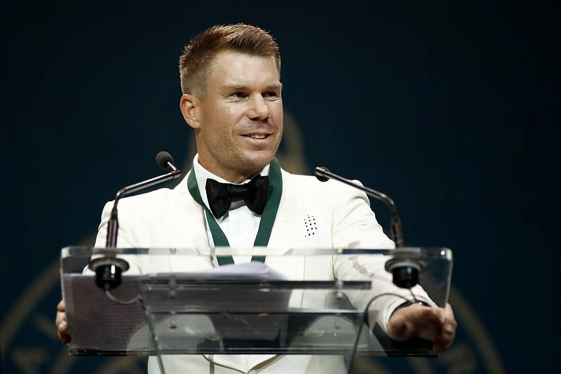 David Warner at the 2020 Australian Cricket Awards