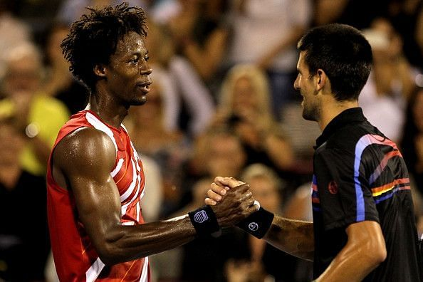 Djokovic (right) has beaten Monfils in all 17 matches they have played