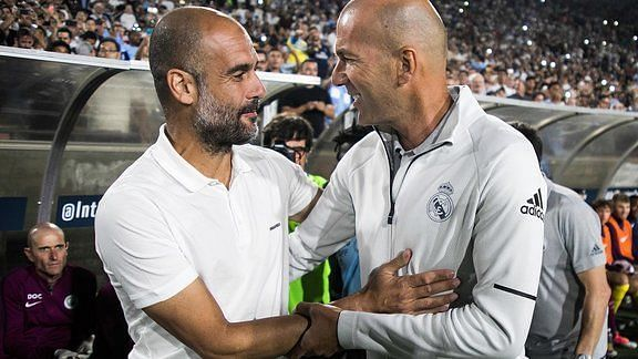 Pep Guardiola and Zinedine Zidane will go head-to-head in their first managerial meeting
