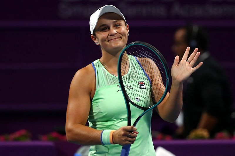 Ashleigh Barty acknowledges the crowd after her second-round win at the Qatar Open 2020