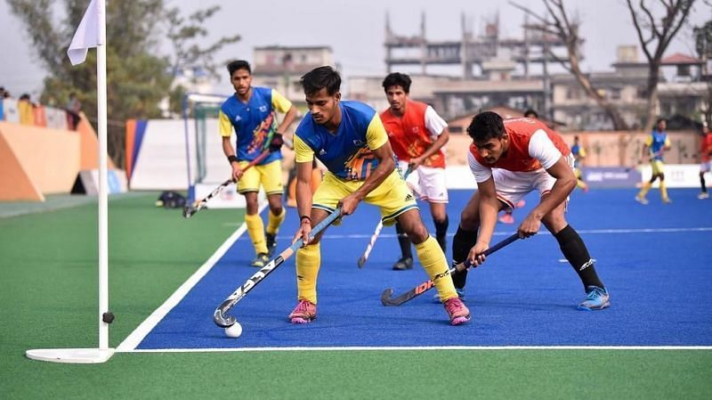 Action from the Khelo India Youth Games 2020 hockey match.