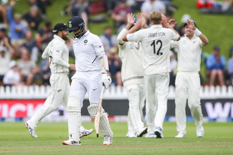 Cheteshwar Pujara fell to a beauty of a delivery from Kyle Jamieson