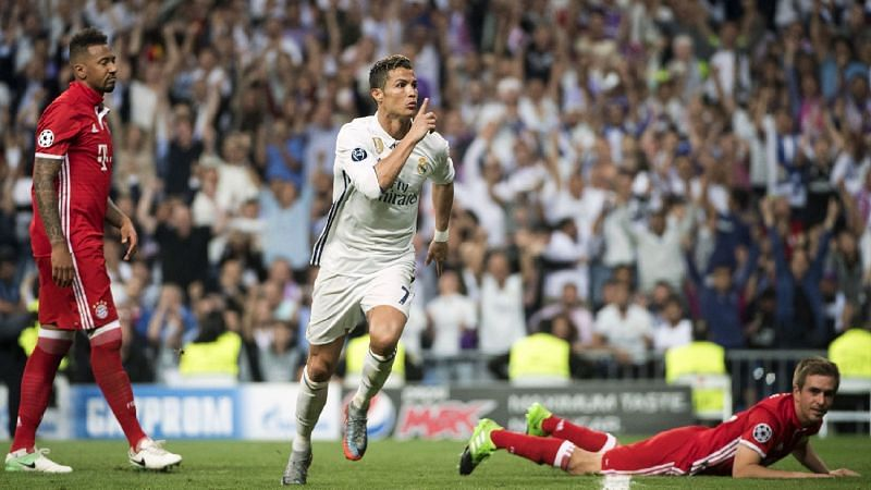 Ronaldo exults after scoring against Bayern Munich