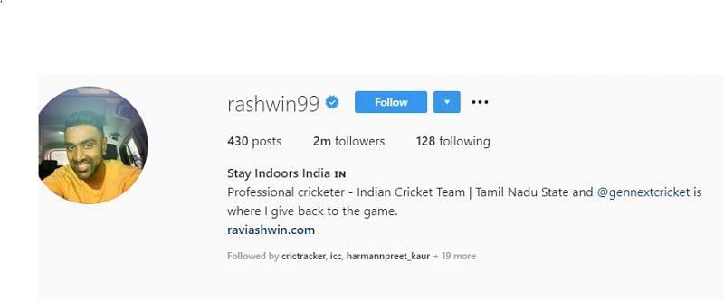 r ashwin instagram profile