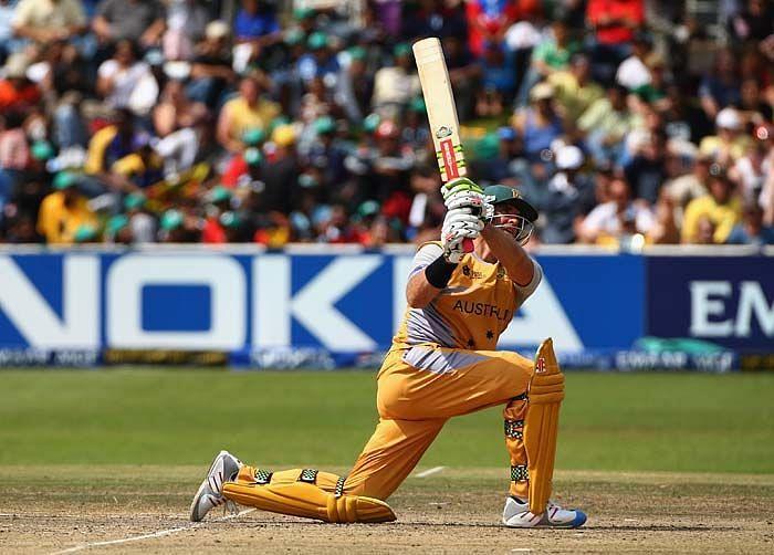 Matthew Hayden during his unbeaten innings of 181 against New Zealand in Hamilton in 2007